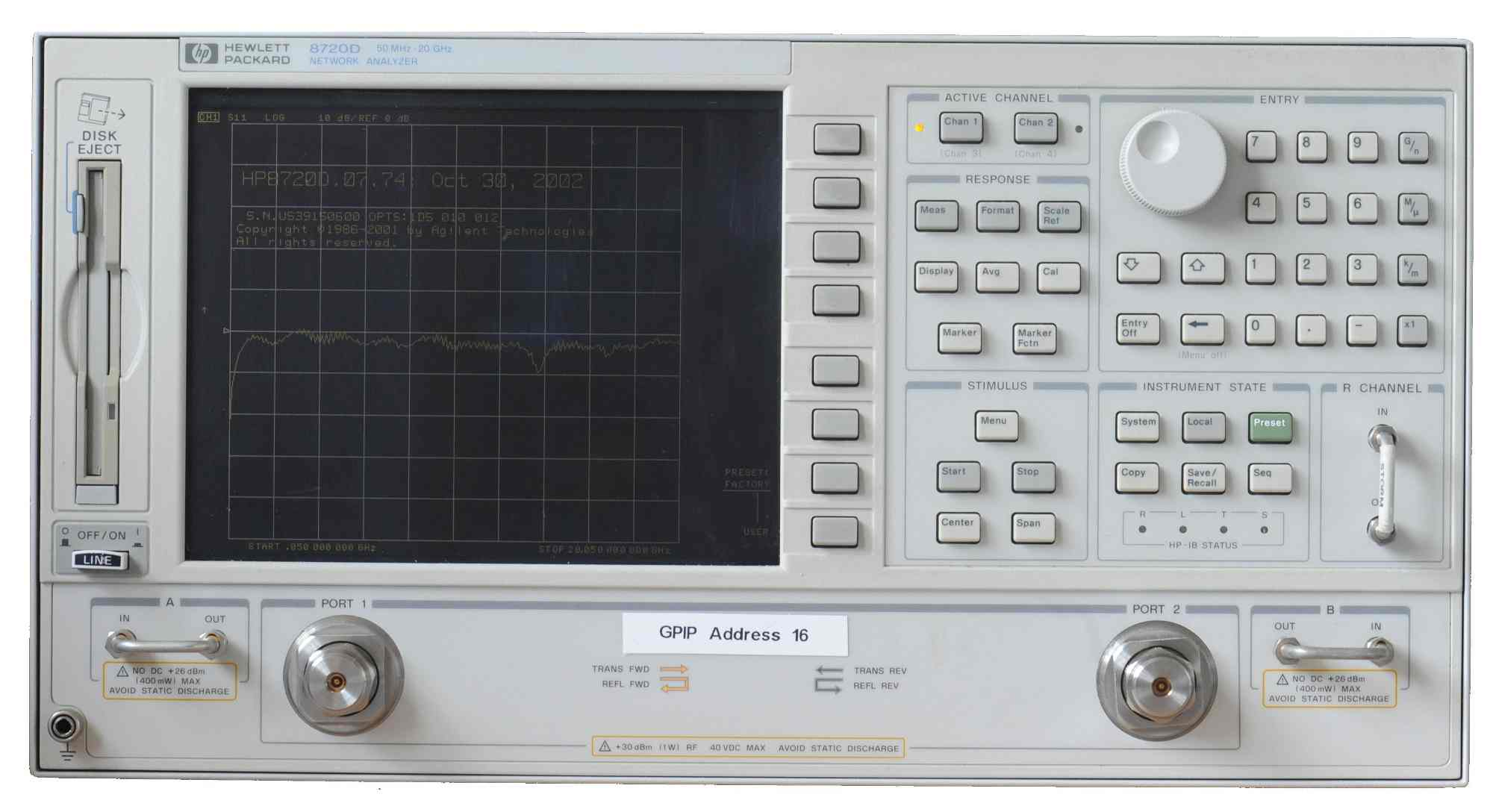 HP 8720D vector network analyzer, which requires a calibration kit, or  cal-kit